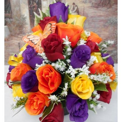 Grave Pot Silk Flower Arrangement Artificial Rose Memorial Tribute All Round