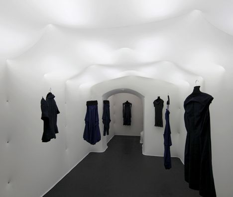Rubber Coated Fabric Is Pinned To The Walls And Ceiling Of This Fashion Boutique In Zagreb Croatia Retail Design Atelier Visual Merchandising