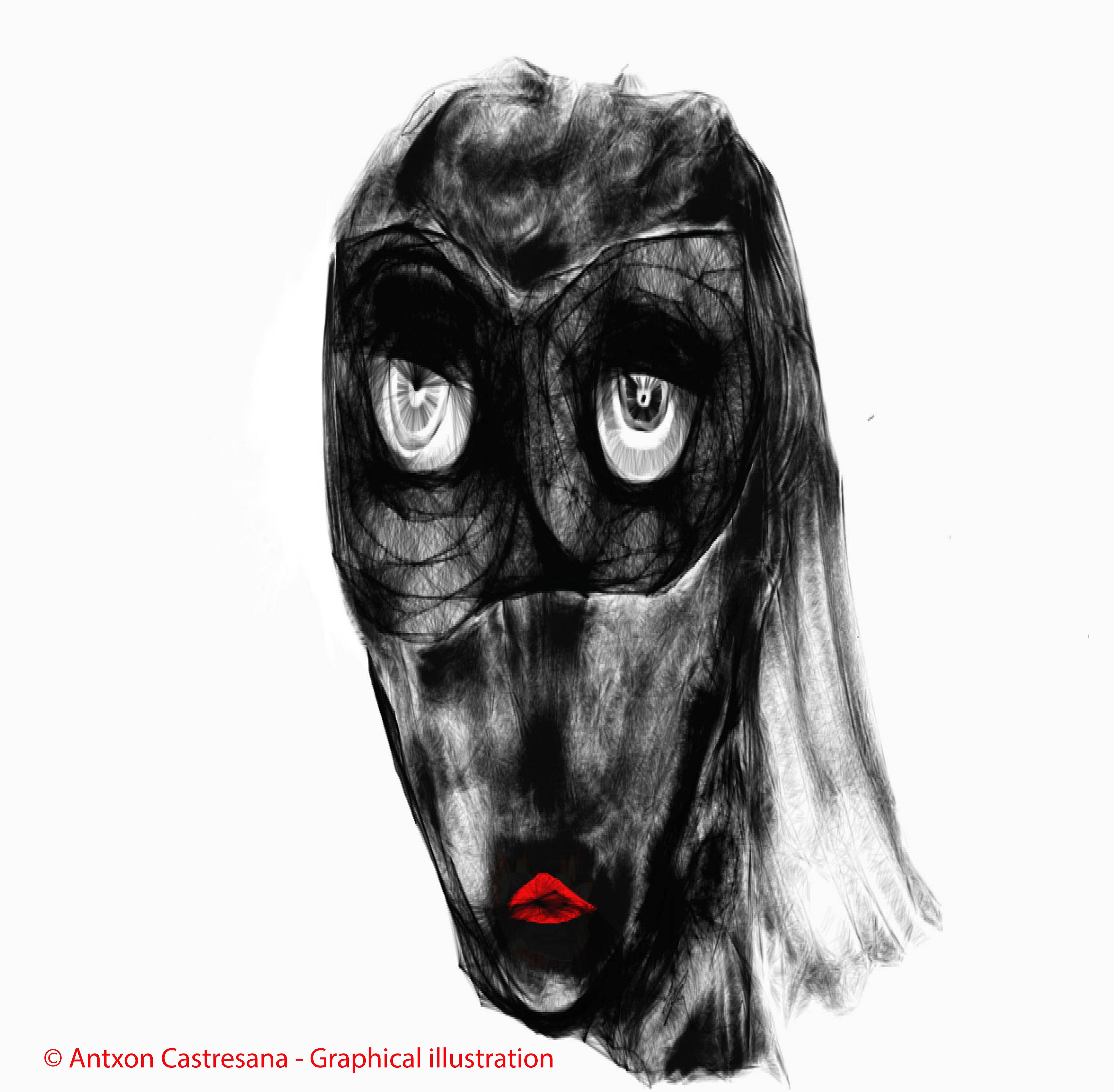 © Antxon Castresana - Graphical illustration como salir de ese pasillo en la hora ,en calma de la media noche. NO puedes tocarme NO puedes olerme NO puedes verme.Que puedo hacer,escribir y escucharte.Pero te puedo sentir.