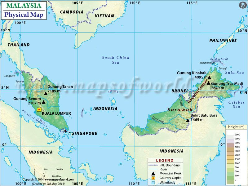 Physical Map of Malaysia | Malaysia world map, Map, Country maps