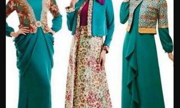 Model Baju Gamis Batik Kombinasi Blazer Warna Hijau Untuk Remaja