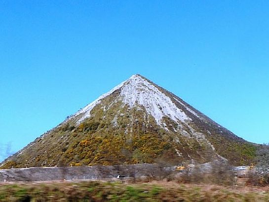 China clay slag heap pyramid in South East Cornwall