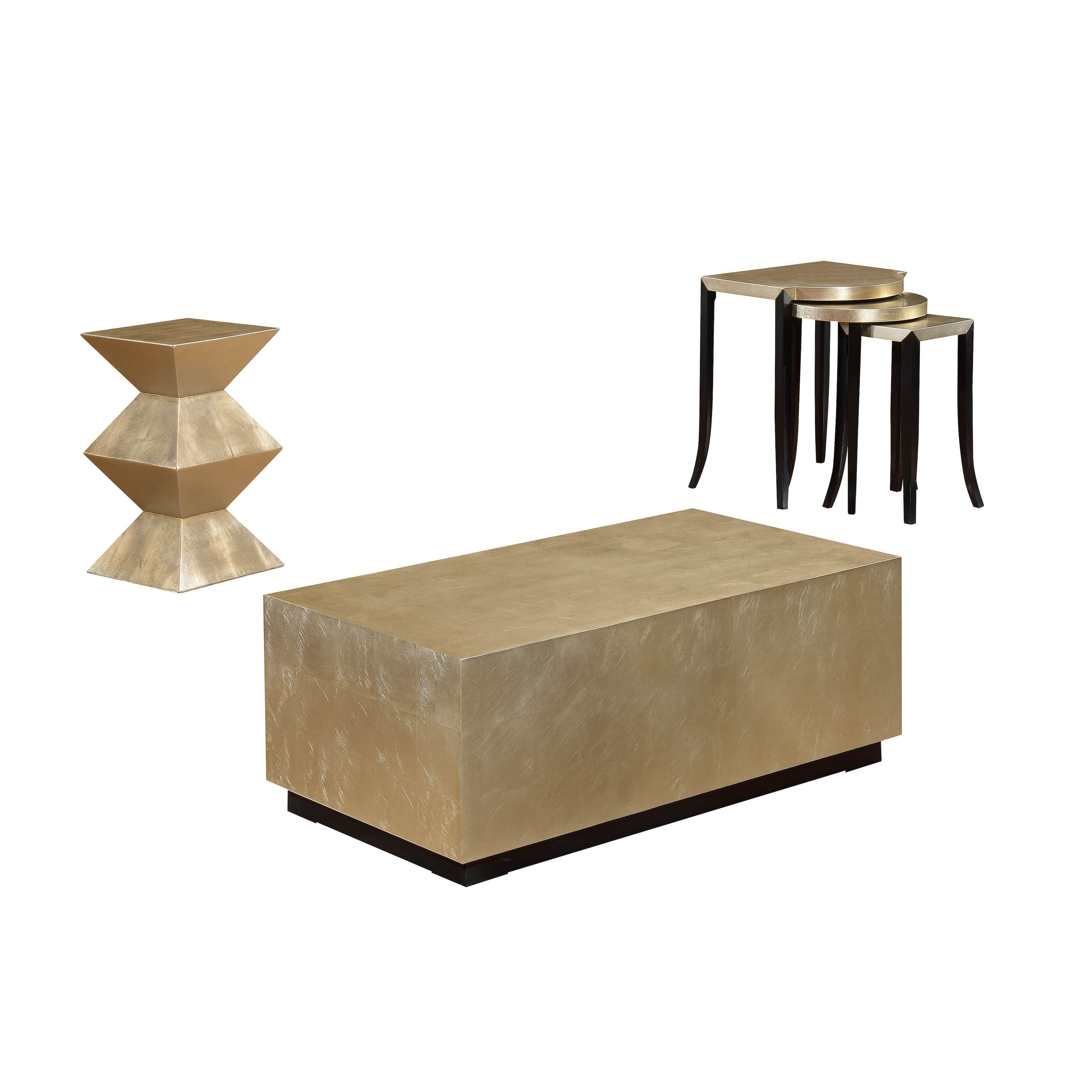 Somette Metallic Gold Block Cocktail Table   Overstock.com Shopping   The  Best Deals On