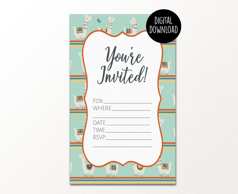 Printable You Re Invited Birthday Party Invitation You Re Invited Printable Invitation Llam Party Invitations Printable Printable Invitations Youre Invited