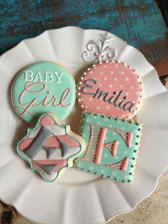 baby girl cookies baby shower cookies monogram cookies chic baby