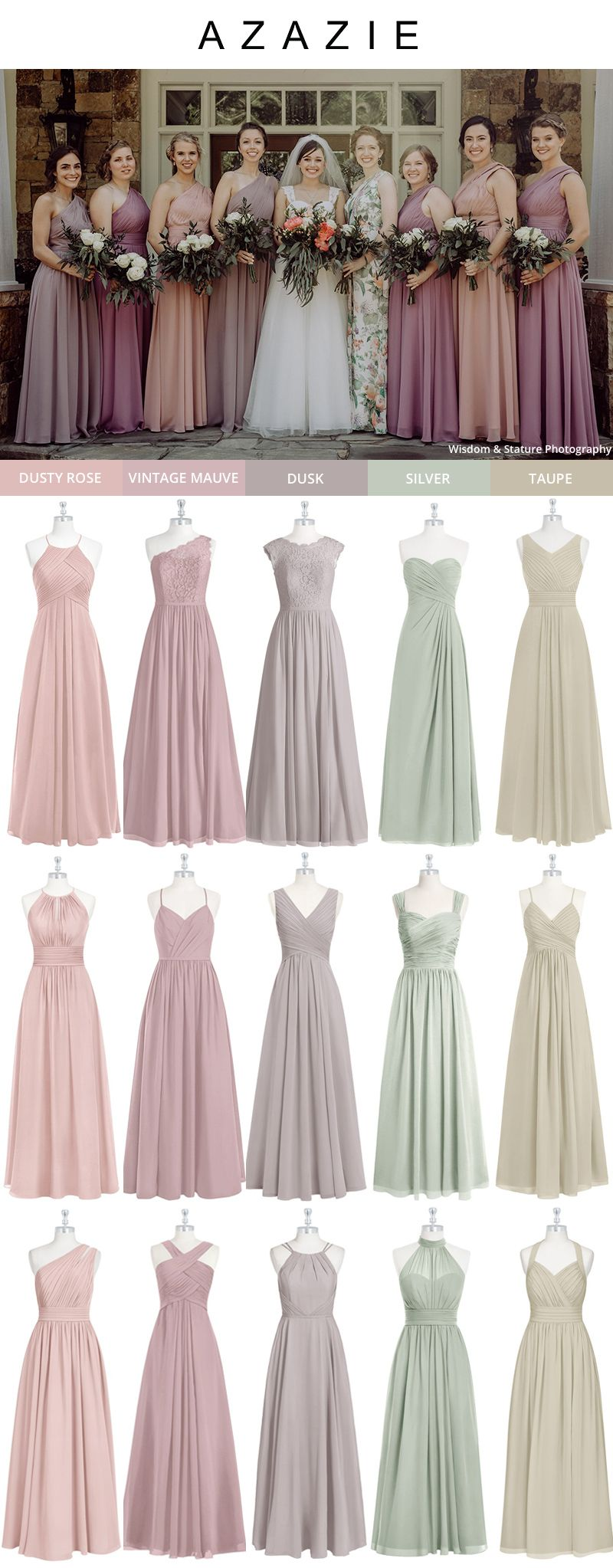 Farbe Mauve Taupe Mix And Match Bridesmaid Dresses: Azazie Wedding Color Inspirations | Taupe Bridesmaid Dresses, Summer Bridesmaid Dresses, Mixed Bridesmaid Dresses