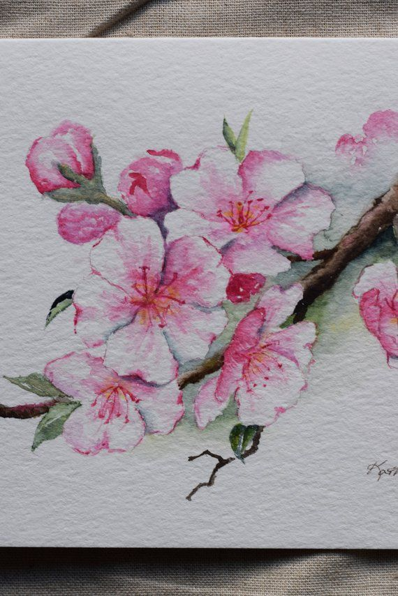 Cherry Blossoms Watercolor Card Prints Products In 2018