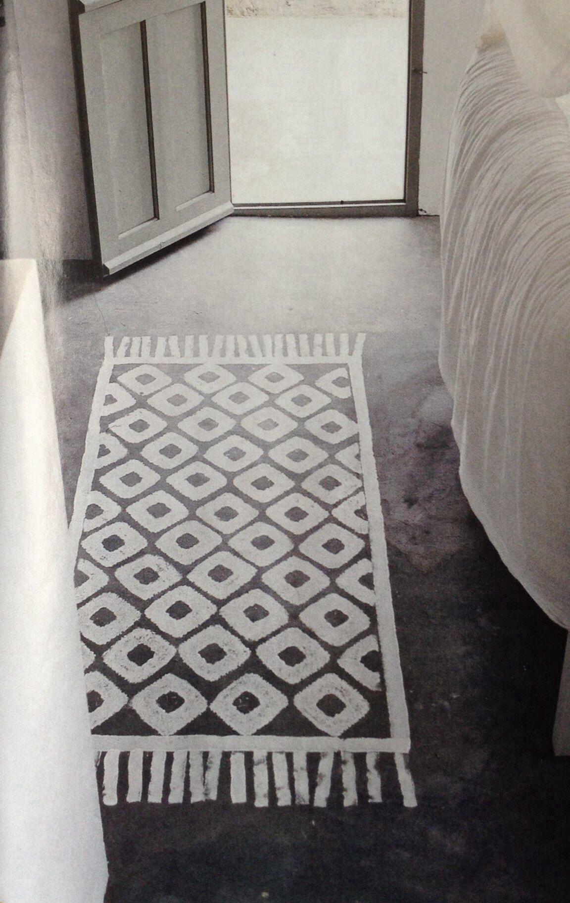 tapis trompe l 39 oeil peint la chaux sur sol ciment inspiration carreaux de ciment pinterest. Black Bedroom Furniture Sets. Home Design Ideas