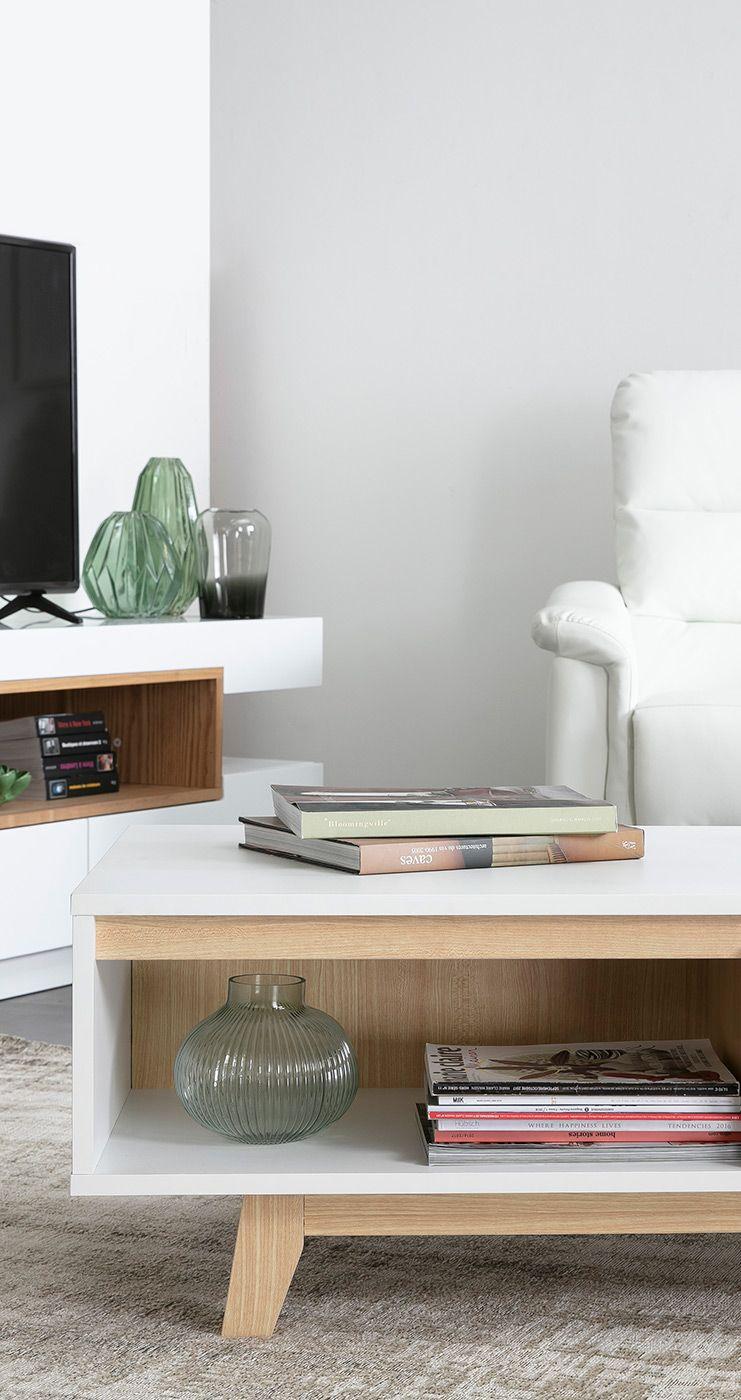 Table Basse Scandinave Blanc Et Bois Lahti Miliboo En 2020 Table Basse Scandinave Table Basse Decoration Maison
