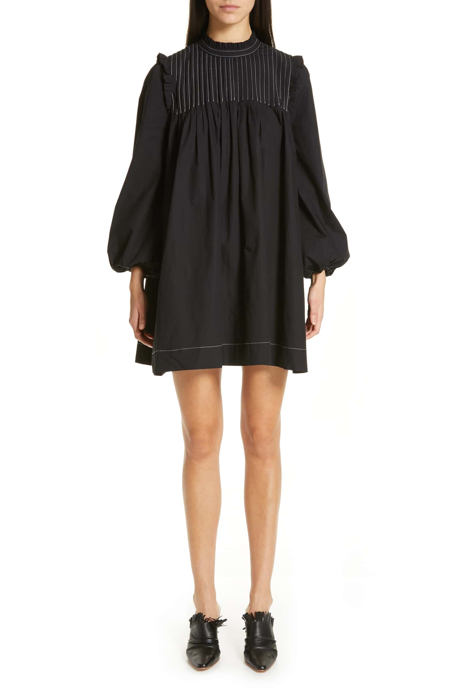 Ganni Cotton Poplin Minidress Nordstrom Black Long Sleeve Mini Dress Cotton Poplin Long Sleeve Mini Dress [ 2392 x 1560 Pixel ]