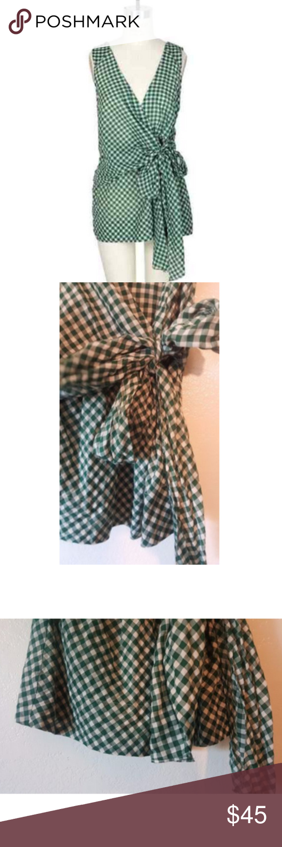Odille Green Swathed Gingham Front Knot Wrap Blous Brand