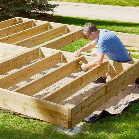 Shopping List And Plans For Platform Deck From Lowes Platform Deck Building A Deck Diy Deck