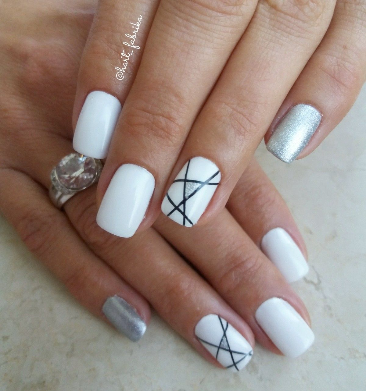 White Gel Nails With Silver And Black Details Black Gel Nails White Gel Nails Black Nail Designs