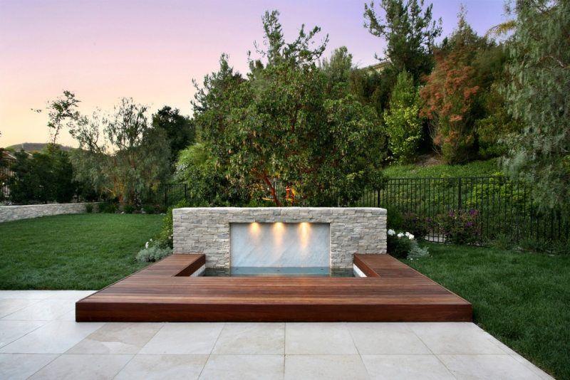 Whirlpool-Garten-Beleuchtung-Holz-Terrasse Gartengestaltung - Terrasse Im Garten Herausvorderungen