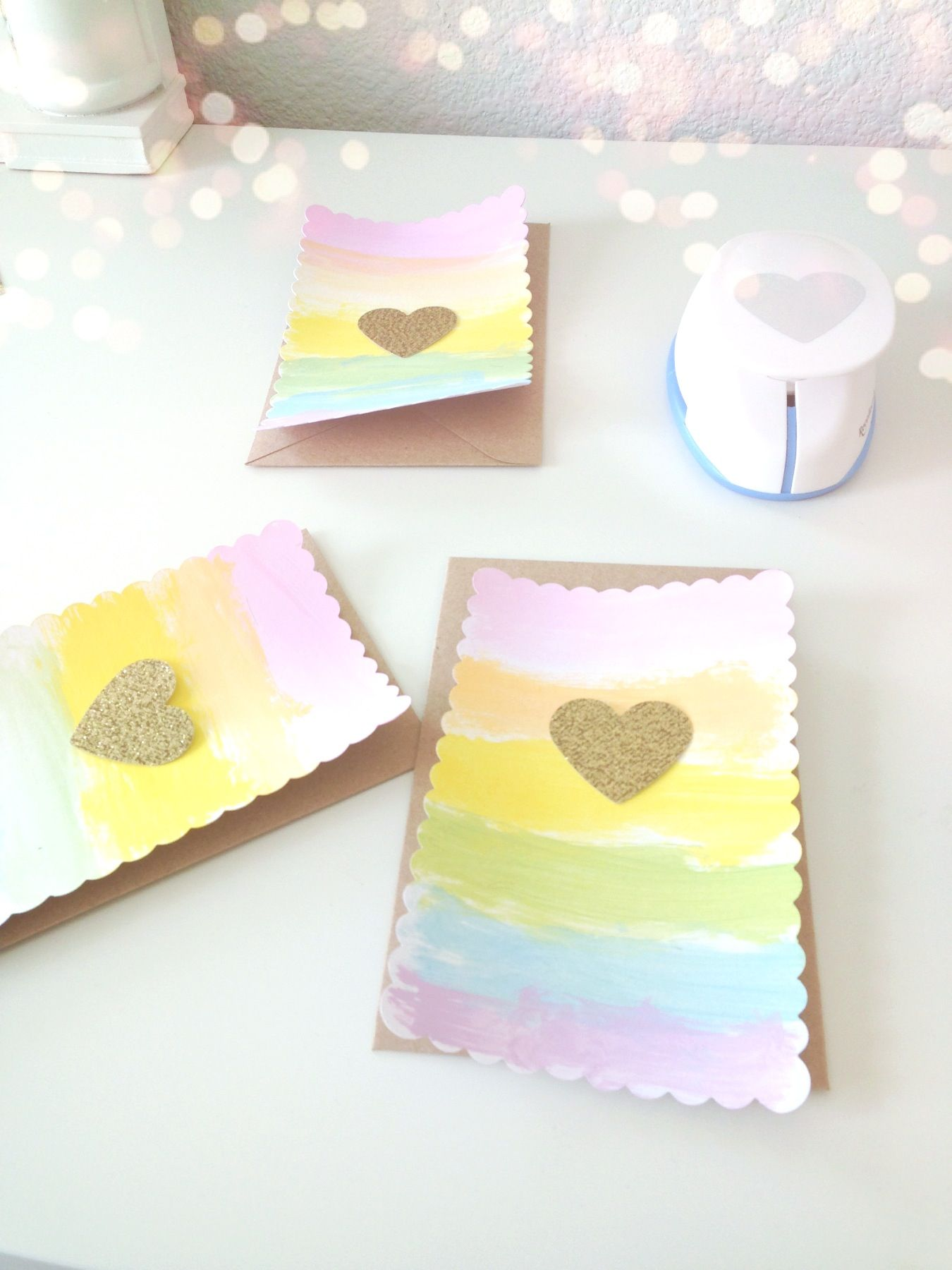 Pastel rainbow baby shower invites with gold glitter heart