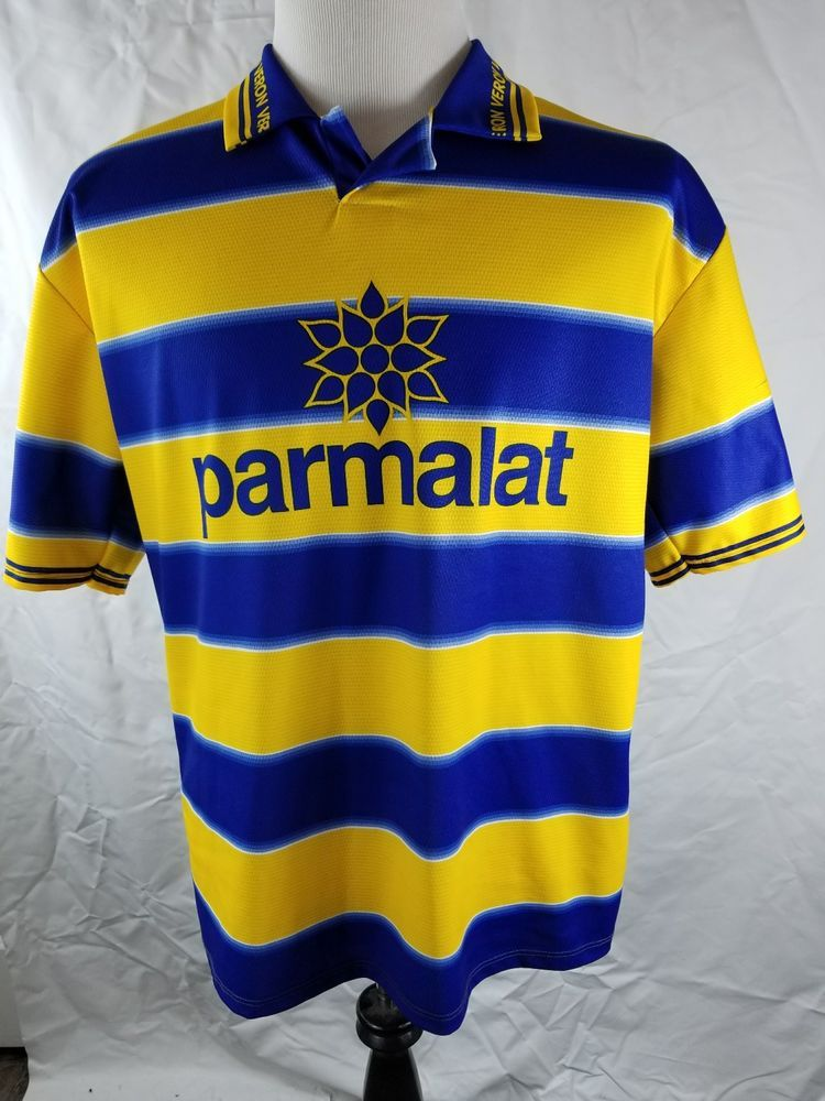 4e0053a46ca73 The Shirt has the Parmalat Logo with the Yellow/Blue Horizontal Stripes.  Replica Soccer Shirt with the Player Juan Sebastian Veron former Midfielder  for ...