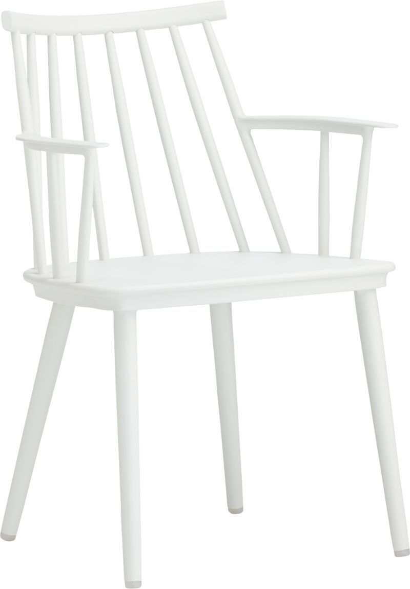 Union White Dining Arm Chair | Crate and Barrel These as end chairs ...