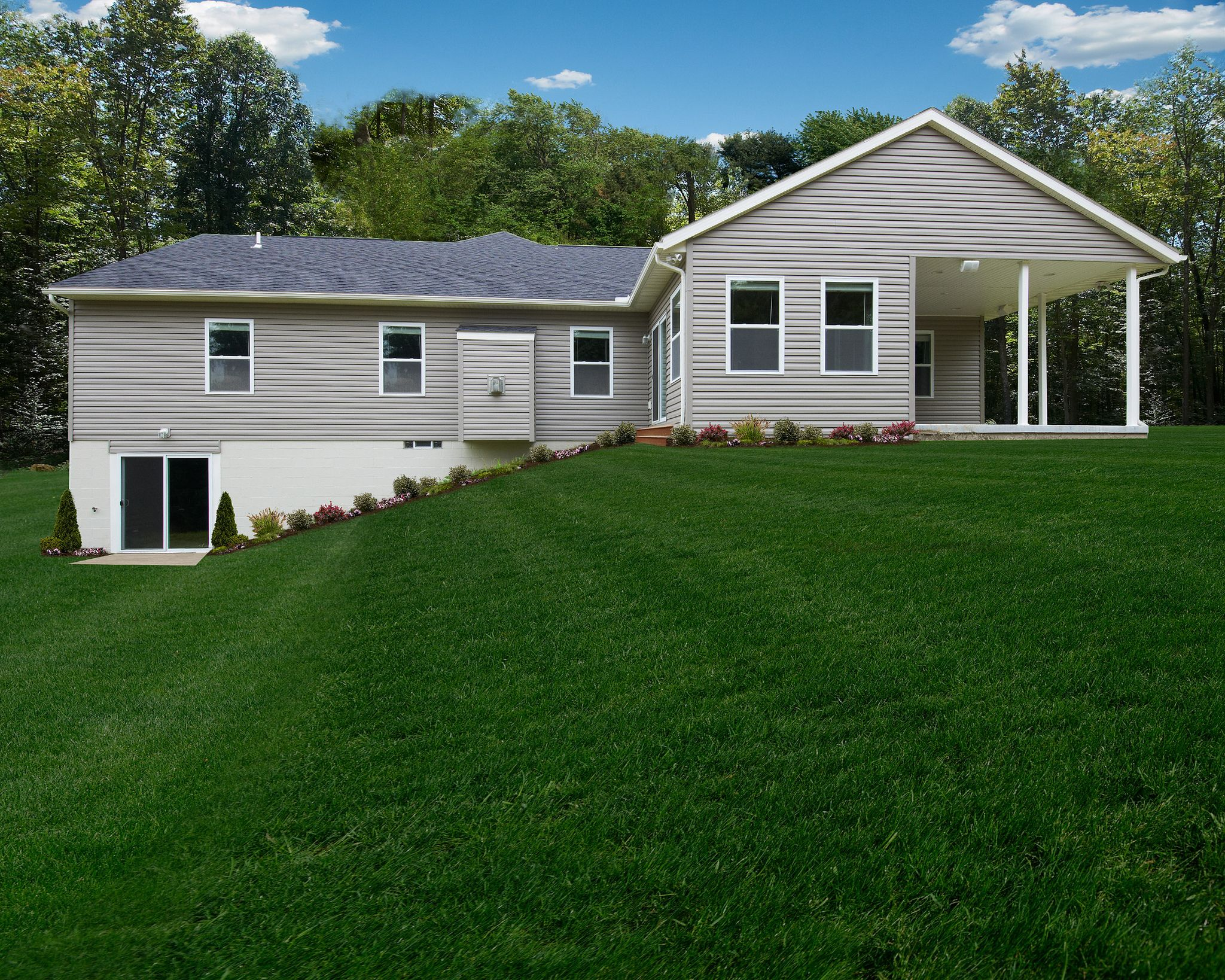 Montgomery craftsman basements patios and walkout basement for Modular homes with basement