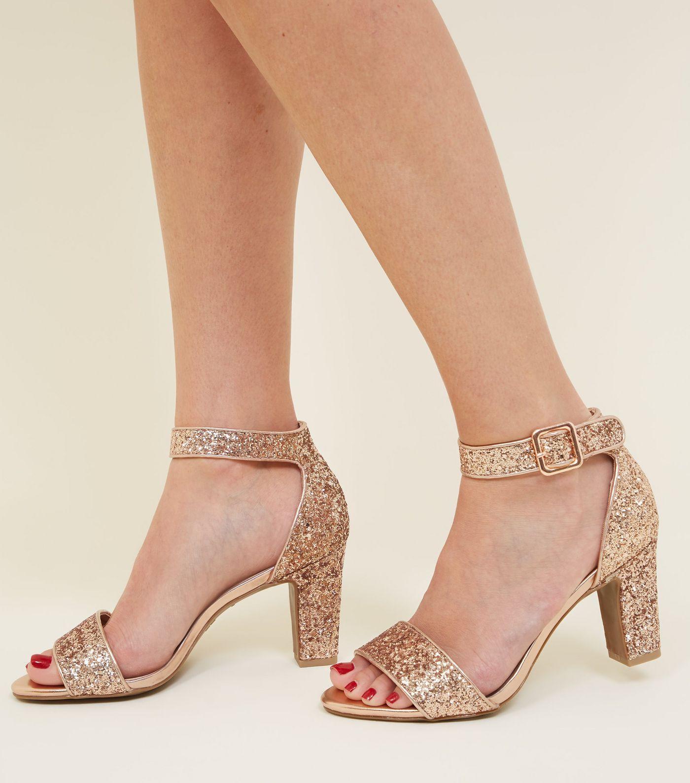 f7bfd24face Comfort Flex Silver Glittery Block Heels in 2019 | Footware | Heels ...