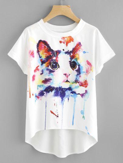 49b8271b6 Watercolor Cat Print Batwing Sleeve Dip Hem Top -SheIn(Sheinside ...