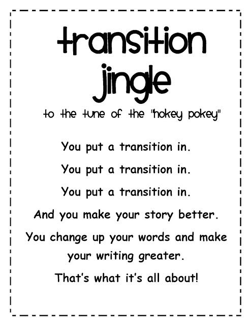 Transition Words Song Free And An Anchor Chart Using Music