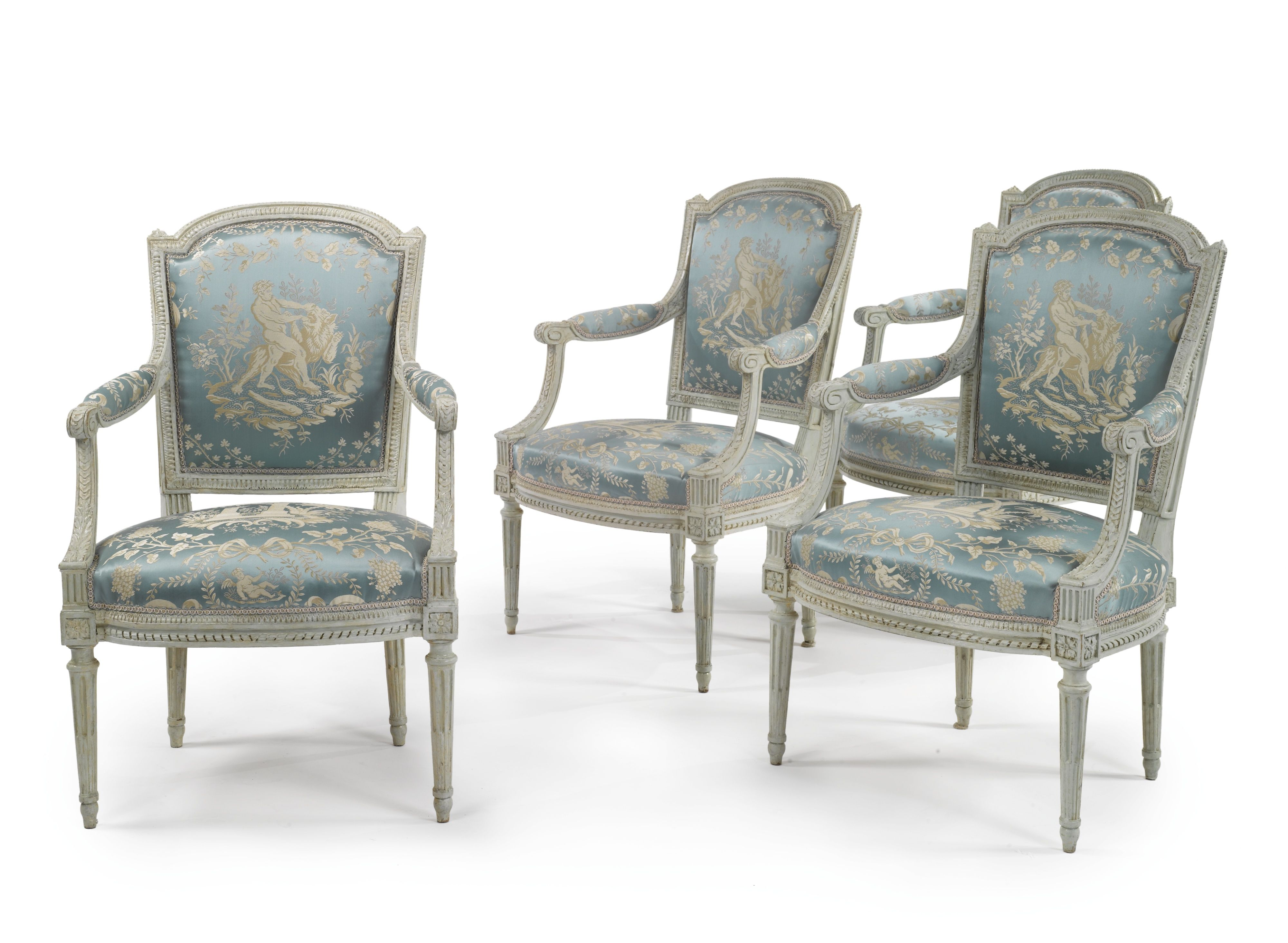A SET OF FOUR LOUIS XVI WHITE-PAINTED AND CARVED FAUTEUILS CIRCA 1785 height 35 3/4 in. Estimate  20,000 — 30,000  USD  LOT SOLD. 25,000 USD