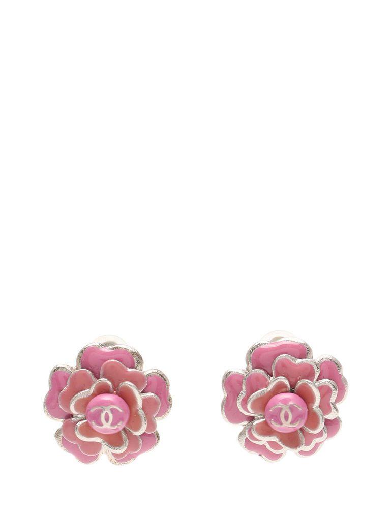 Ebay Sponsored Chanel Camellia Interlocking Cc Mark Logo Earrings Pink Silver Flower 03c Silver Flowers Chanel Camellia Earrings
