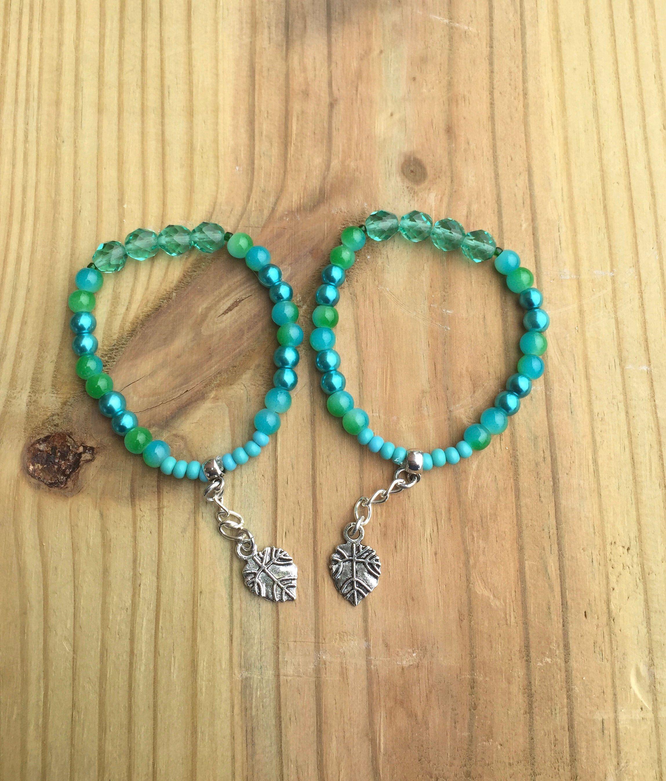 Aqua Blue Bracelets Stretchy Friendship Bracelet Set Glass