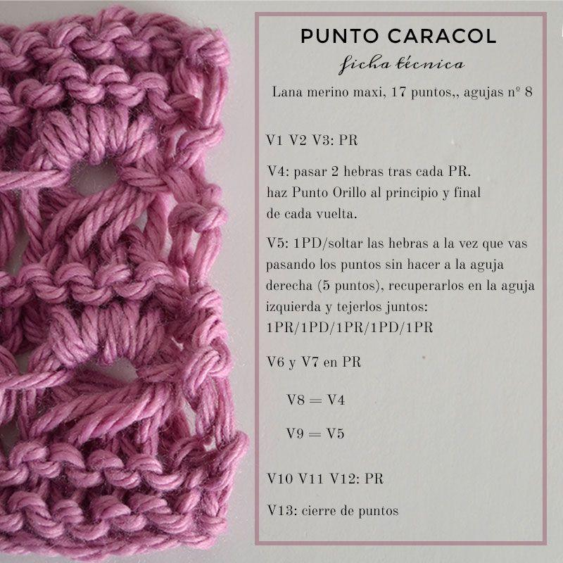 Cómo tejer Punto Caracol | Tejidos | Pinterest | Tejer punto, Cómo ...
