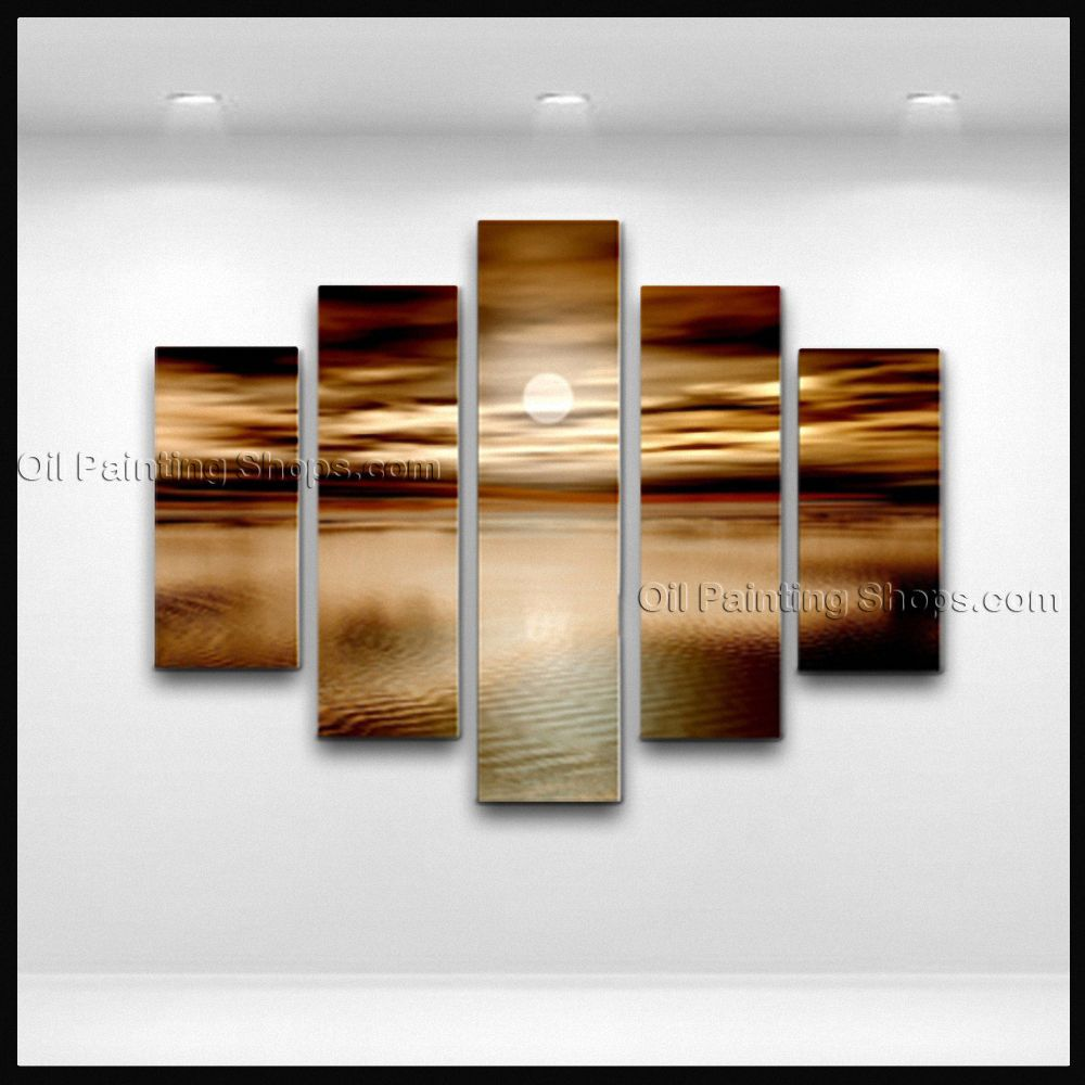 Pentaptych Contemporary Wall Art Seascape Painting Moon Scene ... - Contemporary wall art