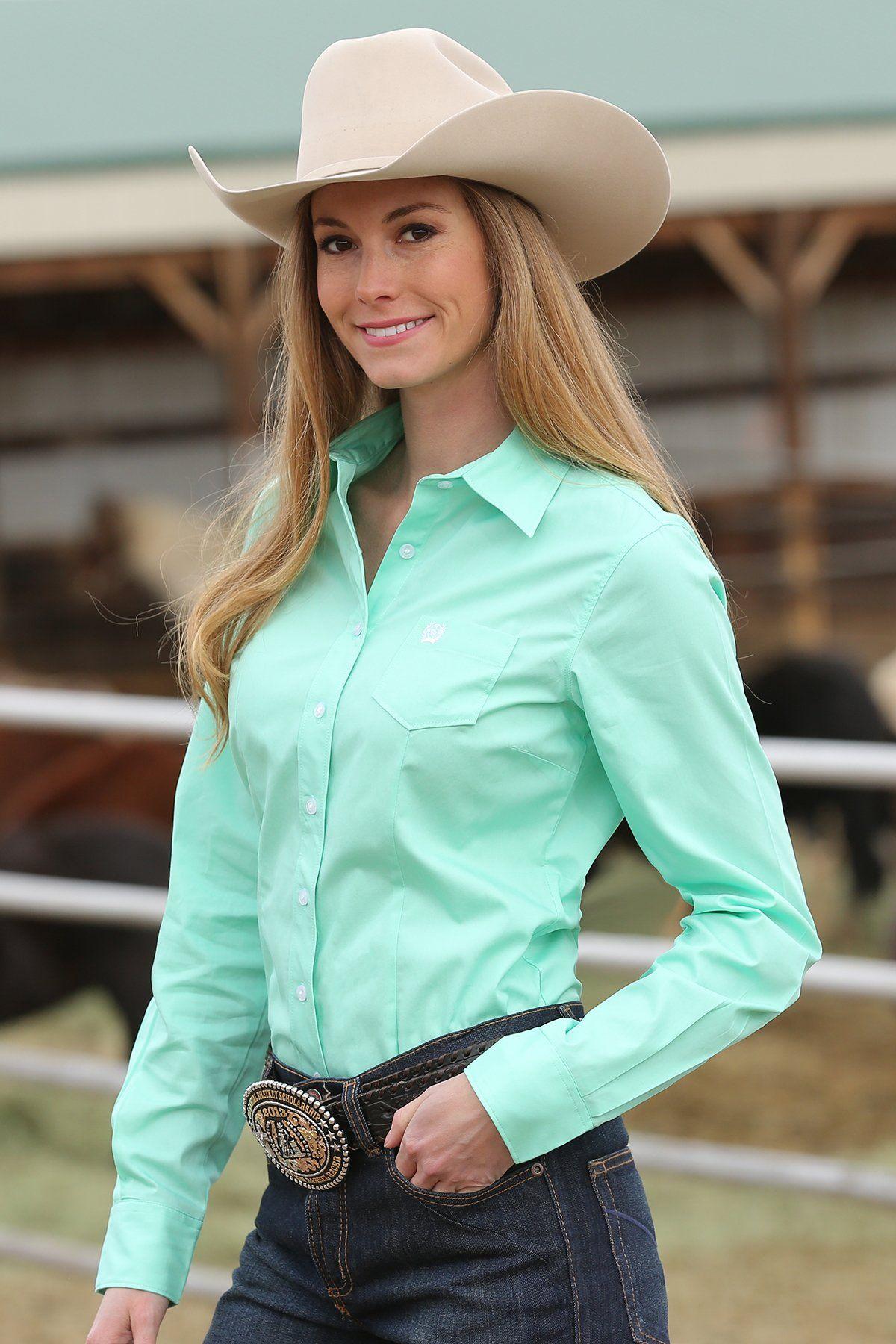 Green Button-down Western Shirt