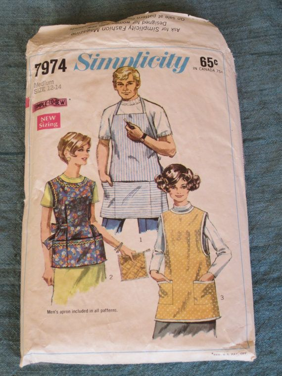 Vintage 60s Simplicity Men\'s and Women\'s Apron w/ Pockets - Sewing ...