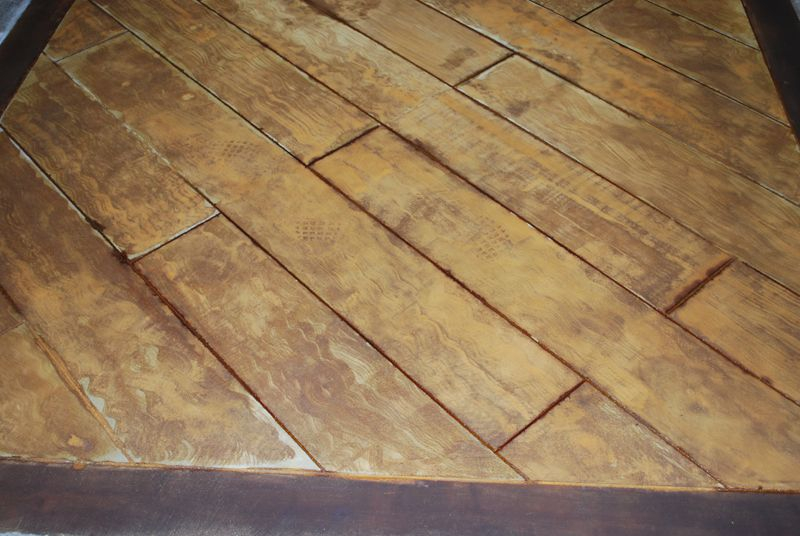 Wood floor stained stamped concrete decorative concrete for How to clean stamped concrete floors