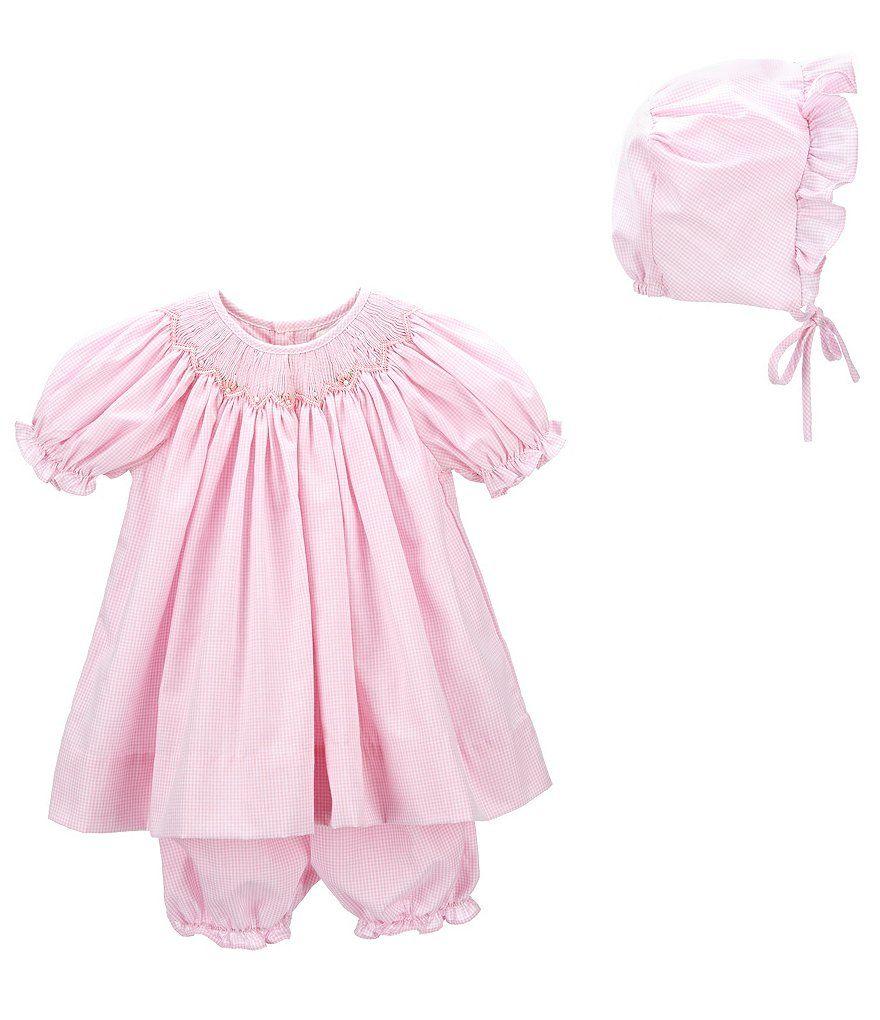 6f4c67ca41b9b Petit Ami Baby Girls Newborn Smocked Gingham Dress & Sunbonnet Set ...