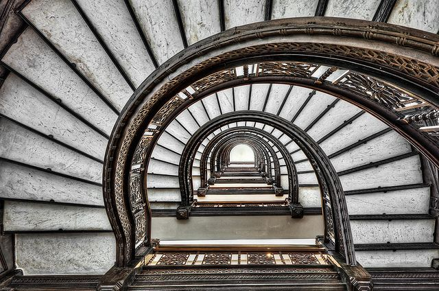 Looking Up The Rookery Building Spiraling Staircase   Chicago By Mister  Joe, Via Flickr