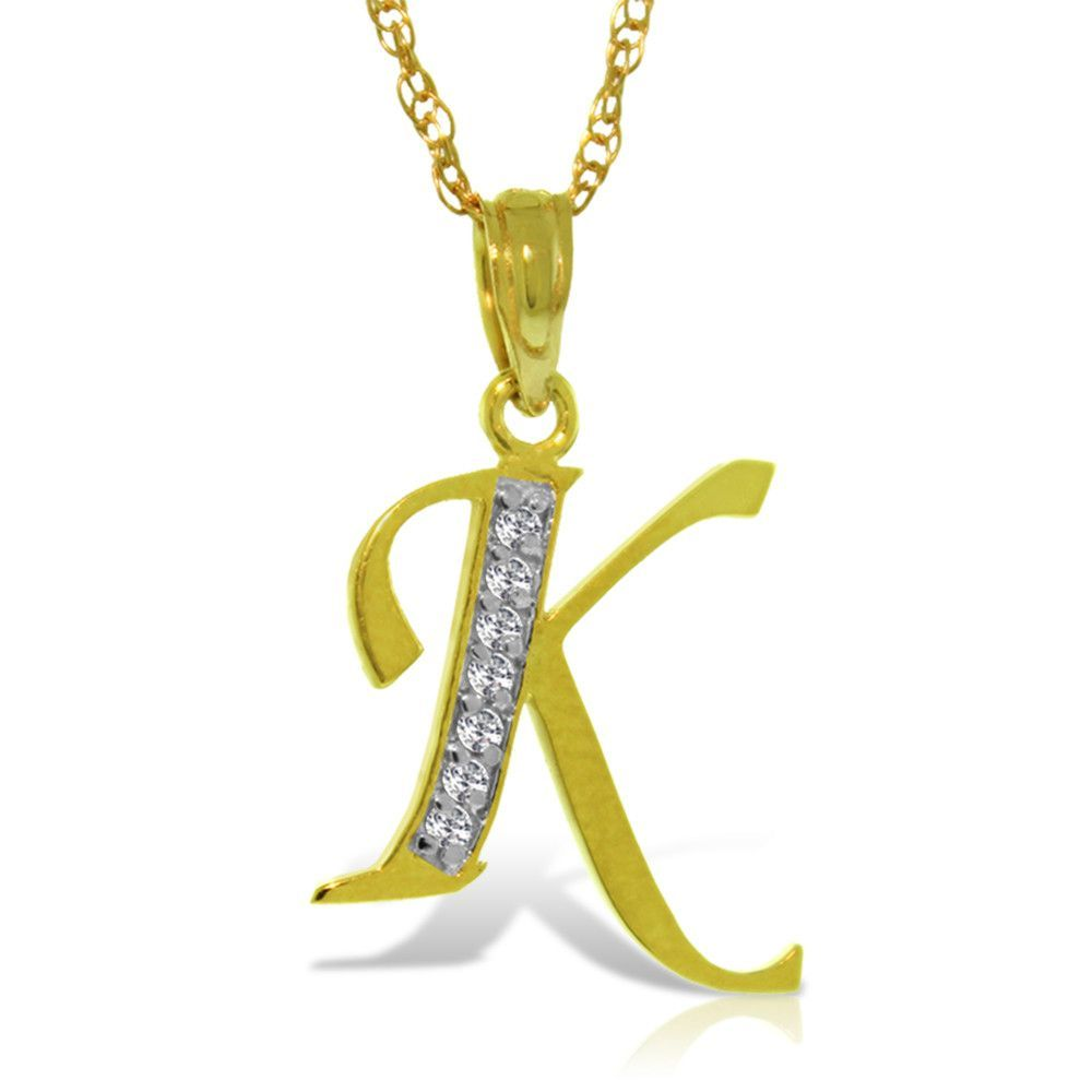 14K Solid Gold Necklace with Natural Diamonds Initial 'k' Pendant - 5624