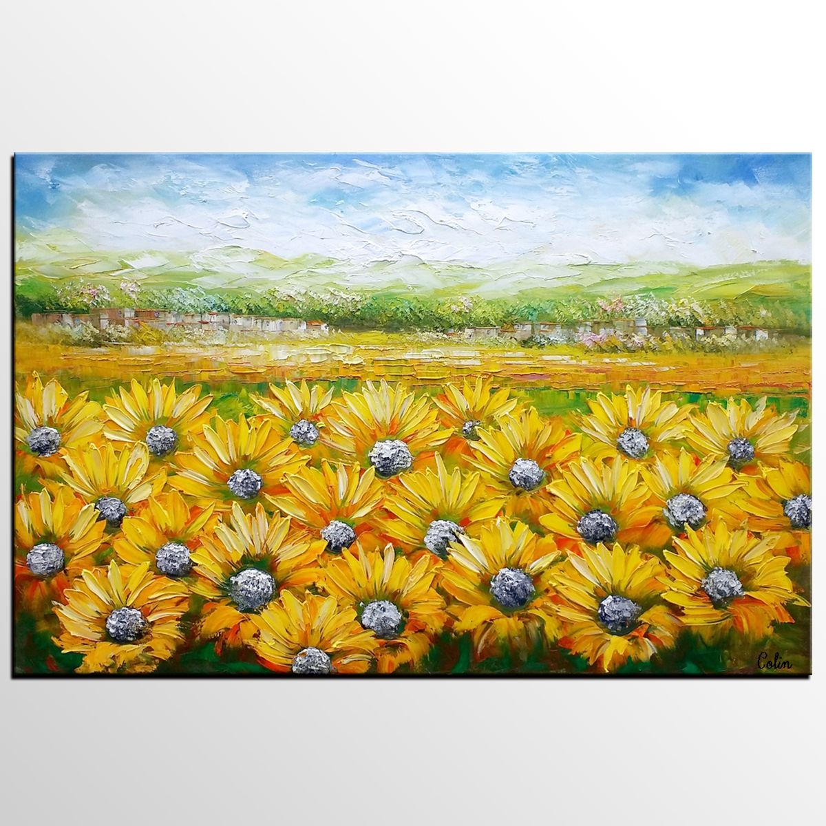 Landscape Painting, Sunflower Field Painting, Canvas Art, Wall Art ...