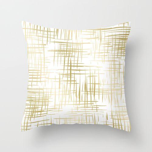 Crosshatch Gold Throw Pillow