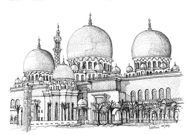 Zayed Mosque Drawing Google Search In 2019 Mosque