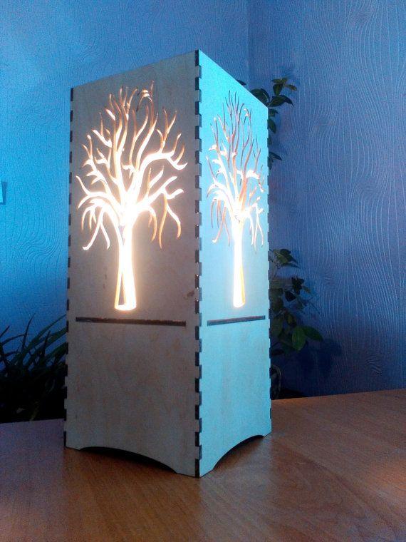 Wooden Lamp Night Light Laser Cut Lantern Led Light