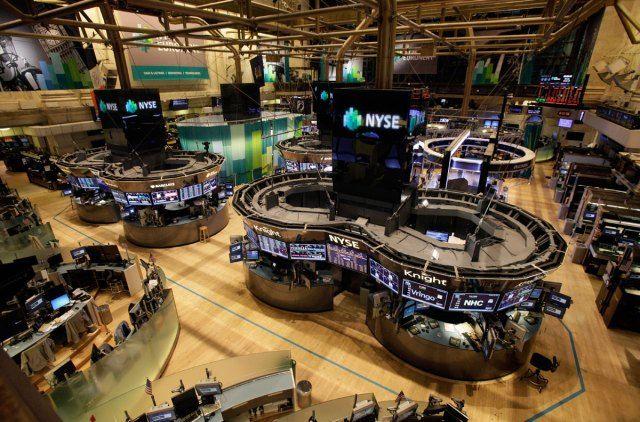 The empty floor of the New York Stock Exchange