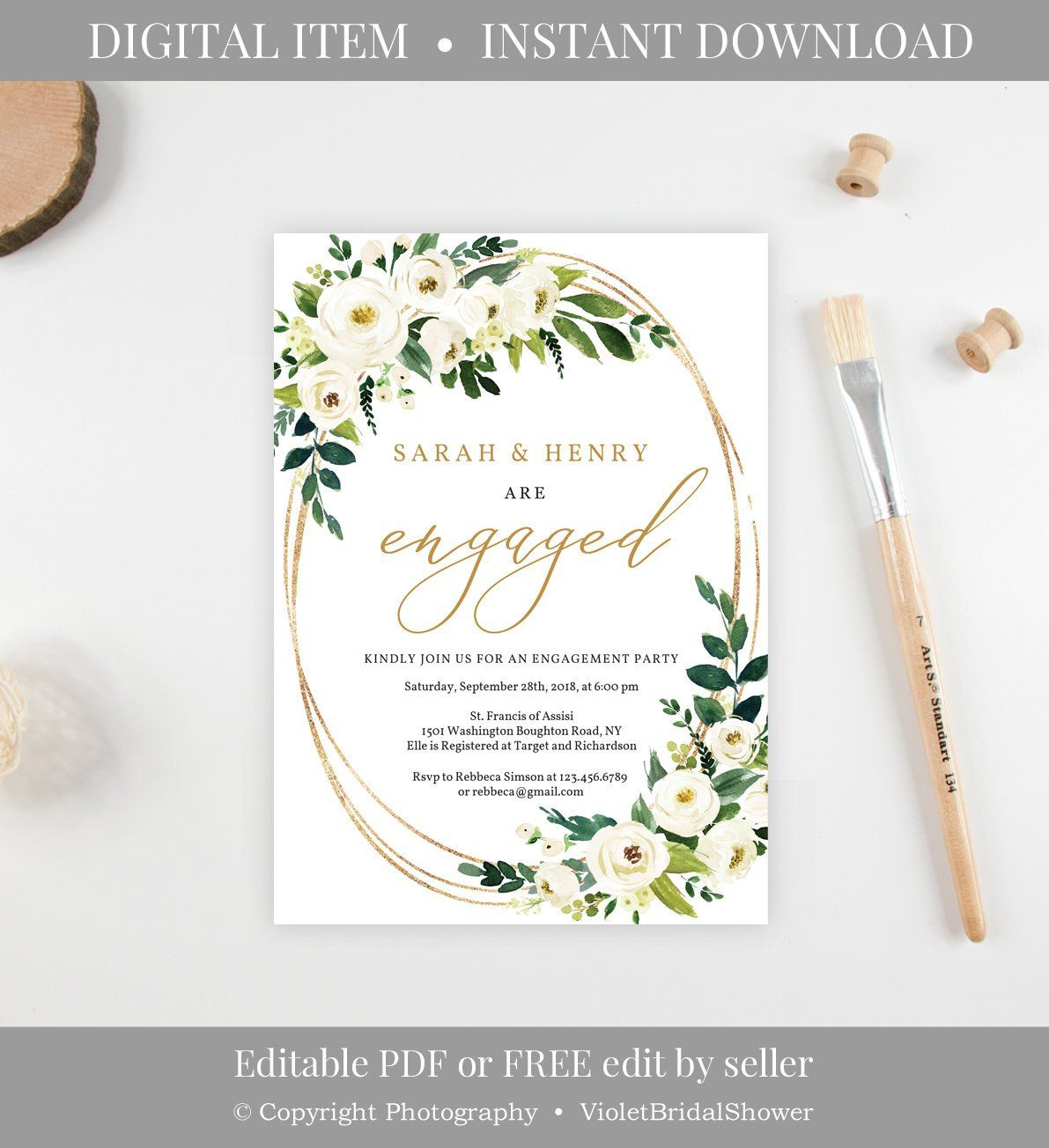 Greenery And Gold Engagement Invitation Template Printable White Flowers Floral Wedding Invitations Borders Engagement Invitation Cards Engagement Invitations