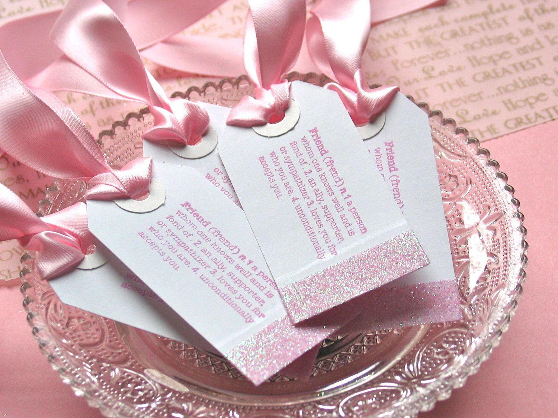 Bridesmaids Gift Tags, Wedding Gift Favor Tags, Pink, Set of 5 ...