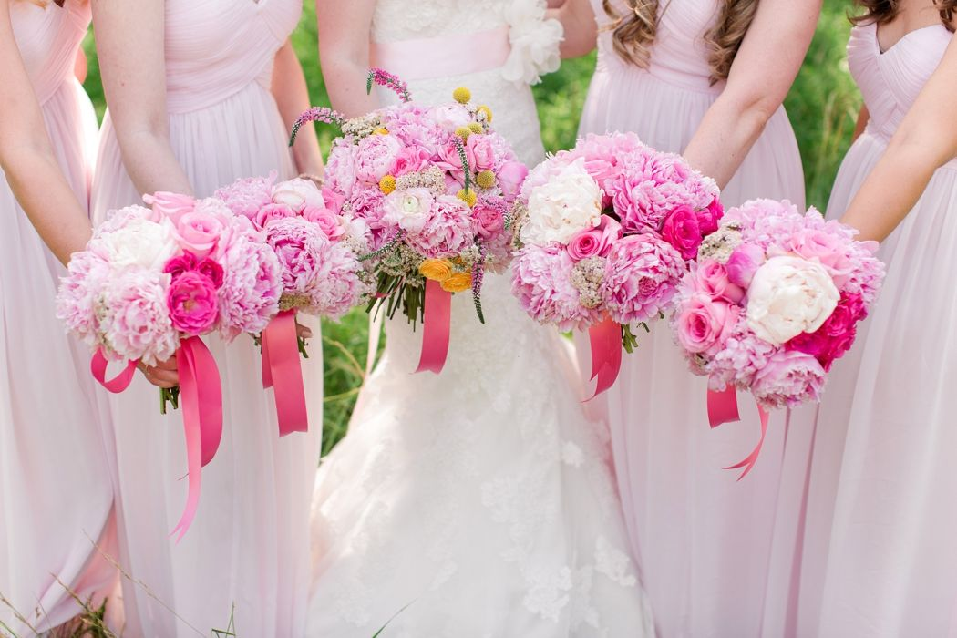 Pink Blush Bridesmaid Dress and Bouquets.