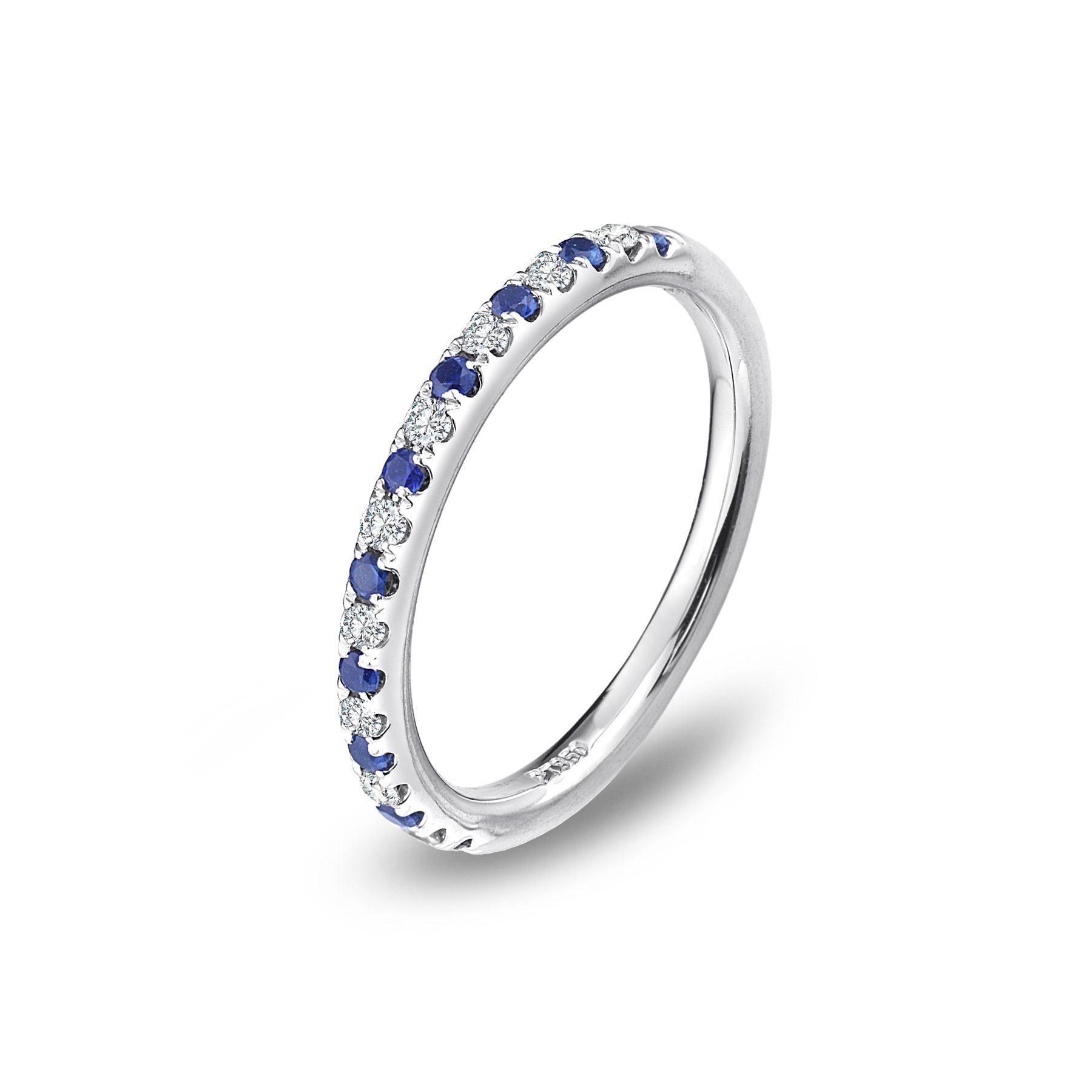 Delicate and brilliant this Blue Nile platinum wedding band