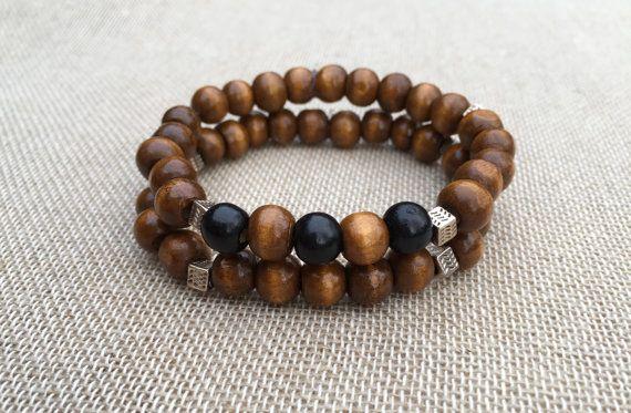 Men S Beaded Bracelet Stacking Wooden Bracelet Stretch Bracelet Wooden Bead Bracelet Set Of 2 Bracelets Unisex Jewellery Gift For Mens Beaded Bracelets