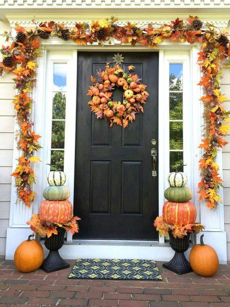 70 Stunning Autumn Decoration For Your Home Fall Decorations Porch Fall Halloween Decor Fall Front Porch Decor