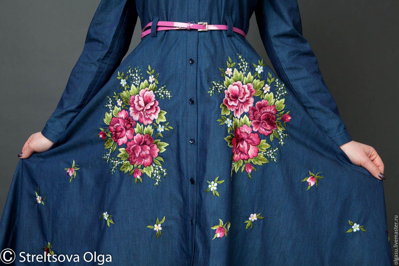 Вышивка на джинсовом платье картинки своими руками