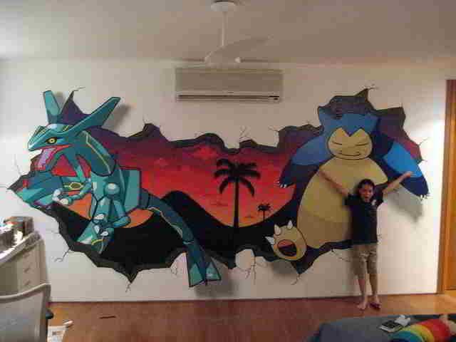 Pokemon Wall-Art Bedroom Inspiring Ideas-2. My nephew would LOVE this! & Pokemon Wall-Art Bedroom Inspiring Ideas-2. My nephew would LOVE th ...