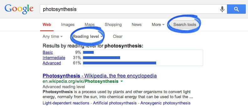 Filtering Google searches by reading level Literacy resources